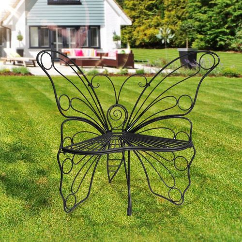 Black Metal Butterfly Garden Chair - Black Ornate Wroght Metal Butterfly Chair